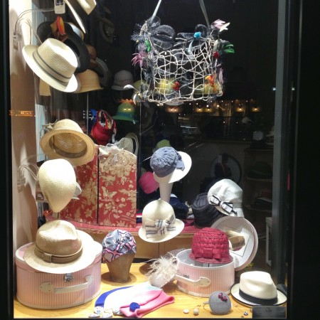 Hats in window