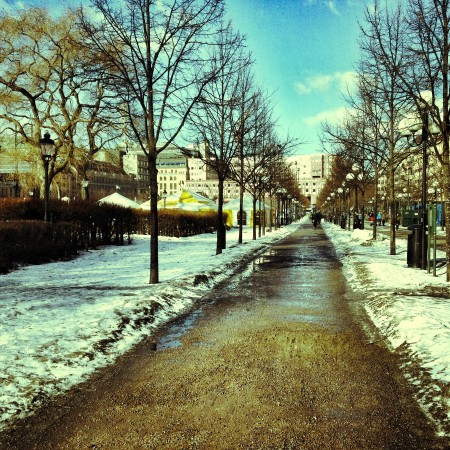 It's not tha much snow now in Kungsträdgården